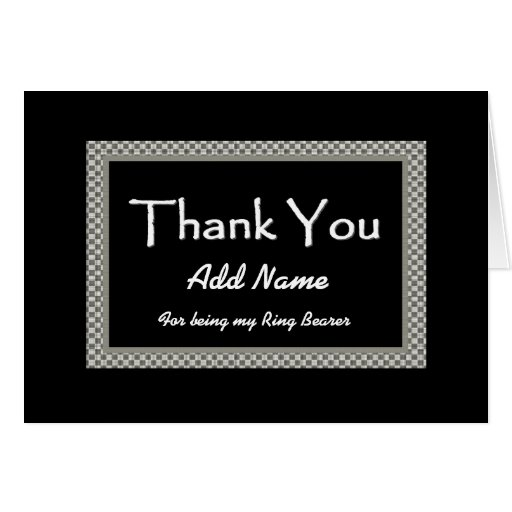 NAME  Ring Bearer Checkerboard Wedding THANK YOU 1 Greeting Cards