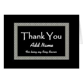 NAME  Ring Bearer Checkerboard Wedding THANK YOU 1 Greeting Card