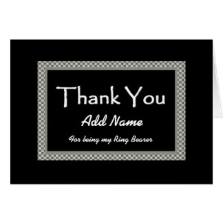 NAME Ring Bearer Checkerboard Wedding THANK YOU Greeting Cards