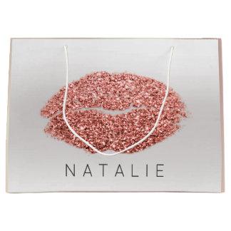 Name Rose Blush Pearl Grey Kiss Lip Glitter Copper Large Gift Bag