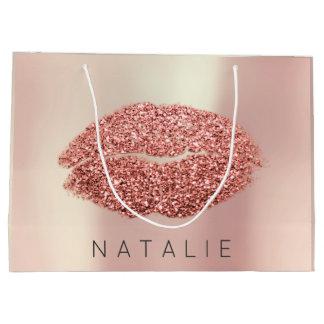 Name Rose Blush Pearl Pink Kiss Lip Glitter Copper Large Gift Bag