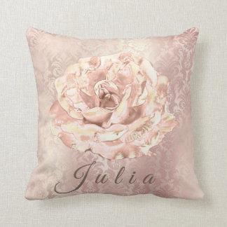 Name Rose Flower Pink Damask Pearl Antonietta Throw Pillow