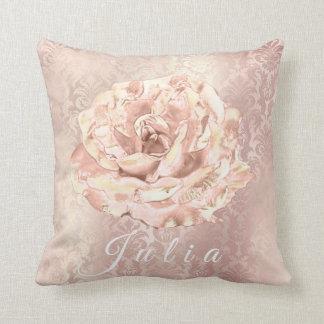 Name Rose Flower Pink Damask Royal Pearl Lux Throw Pillow