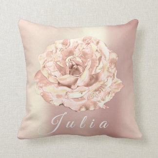 Name Rose Flower Pink Pearly Antonietta White Throw Pillow