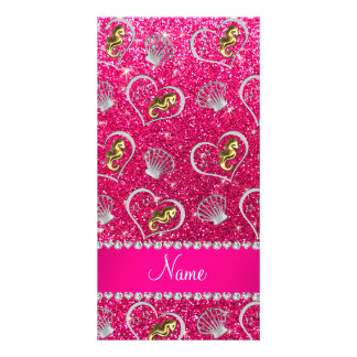 Name rose pink glitter gold seahorses silver shell photo cards