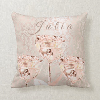 Name Roses Flowers Pink Blush Ivory Lux Damask Throw Pillow