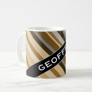 Name + Sandy Beach Colors Inspired Striped Pattern Coffee Mug