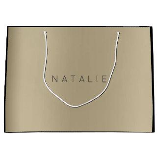 Name Sepia Gold Blush Pearly Minimal Gift Large Gift Bag