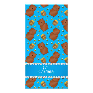 Name sky blue bears honeypots bees pattern photo card template