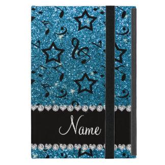 Name sky blue glitter music notes stars iPad mini case