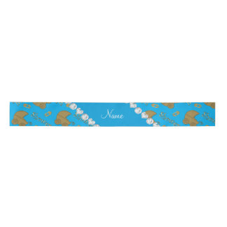 Name sky blue gold baby carriages pins baby shower satin ribbon
