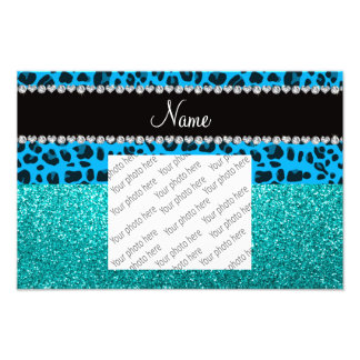 Name sky blue leopard turquoise glitter photograph