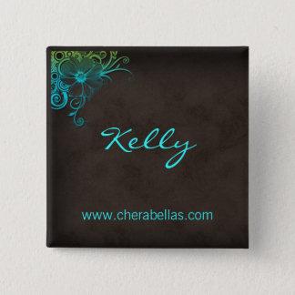 Name Tag Button Salon Spa Floral Blue Green