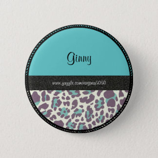 Name Tag: Leopard Print Name Template 2 Inch Round Button