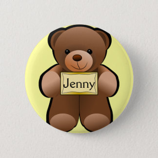 Name Tag Teddy 2 Inch Round Button