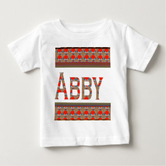 Name TEXT: ABBY  Elegant Red  Gold Border LOWPRICE T-shirts