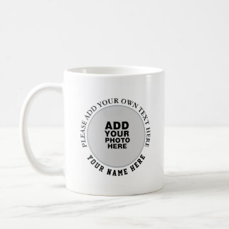 name, text & photo circular img on white coffee mug