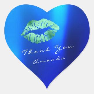 Name Thank You Heart Kiss Emerald Navy Blue Makeup Heart Sticker