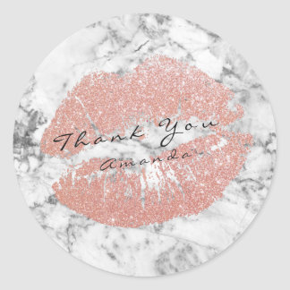 Name Thank You Kiss Silver Glitter Marble Pink Ros Classic Round Sticker