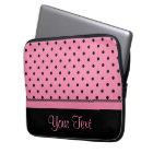 Name Tube Sock Black Polka Dots hot pink Laptop Sleeve