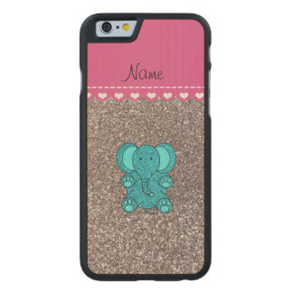 Name turquoise elephant silver glitter carved® maple iPhone 6 slim case