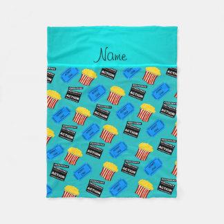 Name turquoise popcorn movie ticket action sign fleece blanket