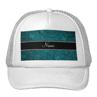 Name vintage teal swirls and butterflies mesh hats