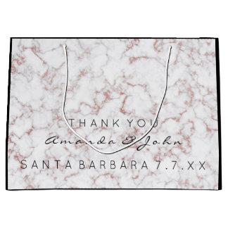 Name Wedding Favor Thank You Marble White Pink Ros Large Gift Bag