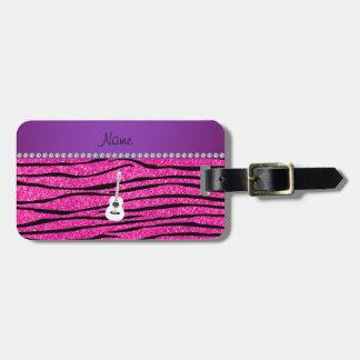 Name white guitar hot pink glitter zebra stripes luggage tag