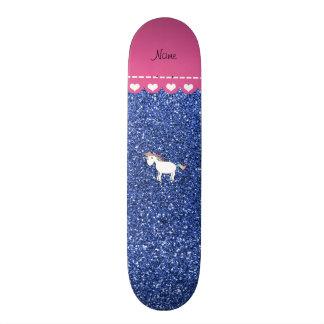 Name white unicorn blue glitter custom skateboard