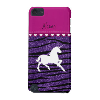 Name white unicorn purple glitter zebra stripes iPod touch (5th generation) covers