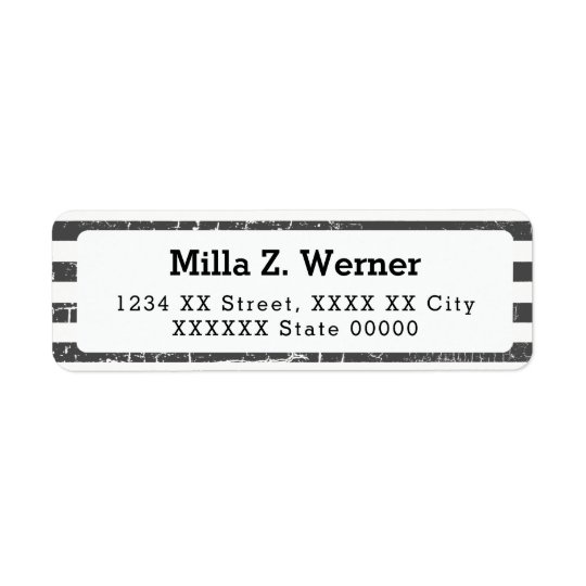 name with black stripes return address label