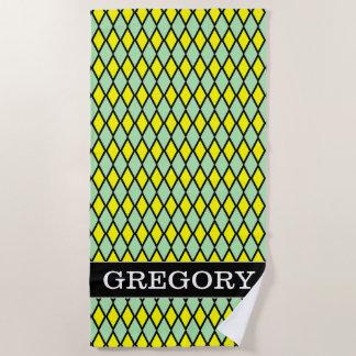 Name + Yellow and Green Diamond Shape Pattern Beach Towel