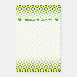 Name + Yellow and Green Diamond Shape Pattern Post-it Notes