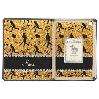 Name yellow glitter field hockey hearts bow case for iPad air