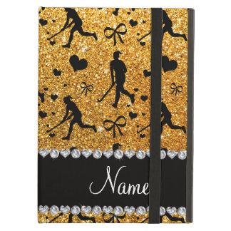 Name yellow glitter field hockey hearts bow iPad air case