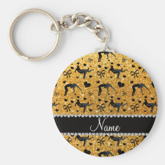 Name yellow glitter wrestling hearts bows basic round button keychain