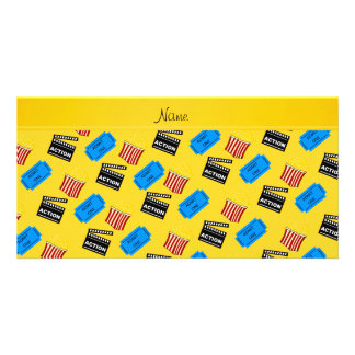Name yellow popcorn movie ticket action sign customized photo card