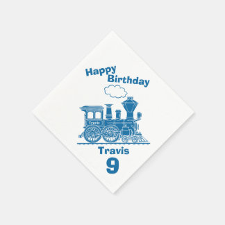 Named blue train boys 9th birthday napkins disposable napkin