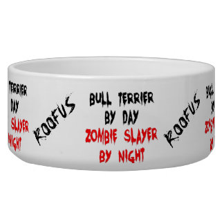 Named Bull Terrier Dog Zombie Joke Bowl
