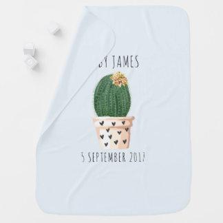 Named Cactus on Blue Baby Blanket