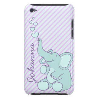 Named cute aqua purple elephant ipod touch case