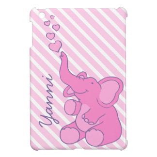 Named cute pink elephant ipad mini case