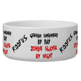 Named German Shepherd Dog Zombie Joke Food Bowl