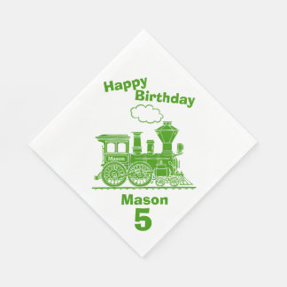 Named green train boys 5th birthday napkins