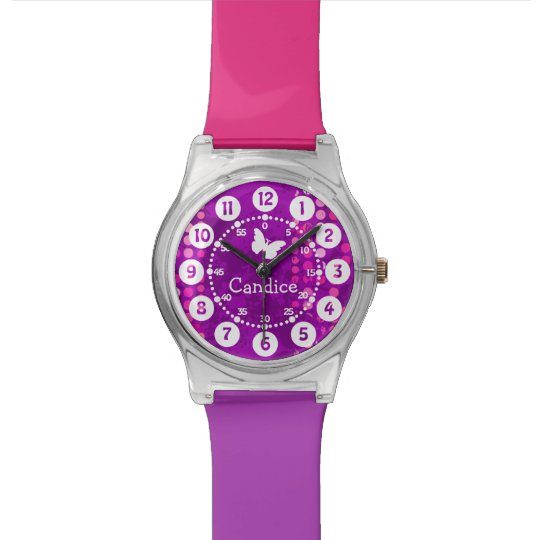 Named pink purple dots easy to read watch