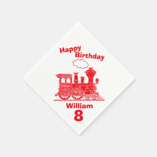 Named red train boys 8th birthday napkins