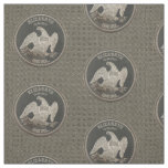 Named Silver 1865 Dollar On Metal Wire Background Fabric