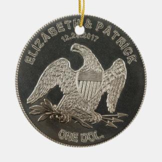Named Silver 1865 Dollar Wedding Or Anniversary Round Ceramic Ornament