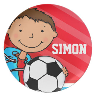 """""""Named"""" sporting football red boys kids plate"""